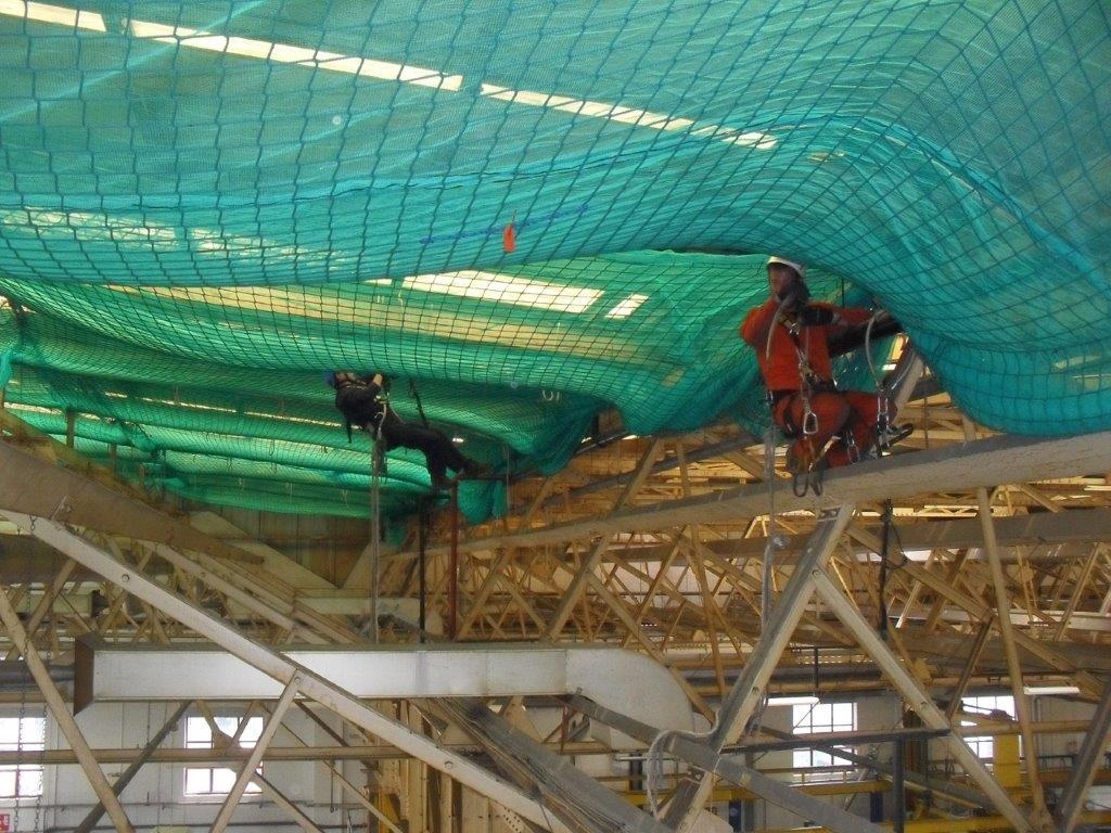 Rope Access work at airbus using nets with Debris mesh